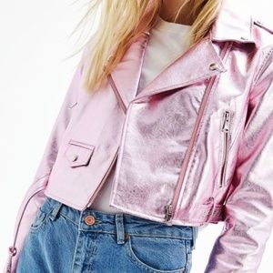 Bershka Metallic Pink Moto Jacket